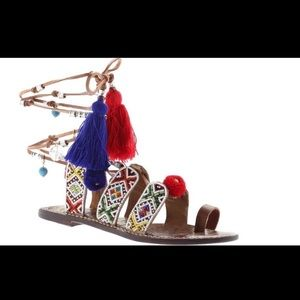 New with tags! Sam Edelman wrap beaded sandals!